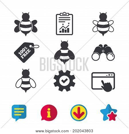 Honey bees icons. Bumblebees symbols. Flying insects with sting signs. Browser window, Report and Service signs. Binoculars, Information and Download icons. Stars and Chat. Vector