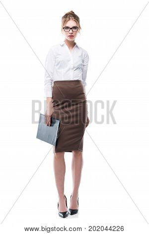 Blonde Businesswoman With Clipboard