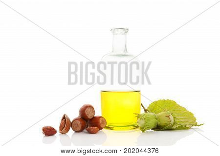 Healthy hazelnut oil with hazelnuts isolated on white background.
