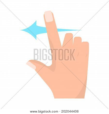 Swipe left touch screen gestures vector illustration. Flat style design. Colorful graphics