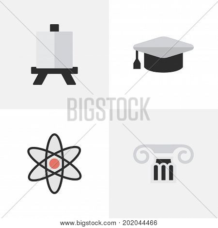 Elements Easel, Academic Hat, Molecule And Other Synonyms Molecule, Pillar And Atom.  Vector Illustration Set Of Simple Education Icons.