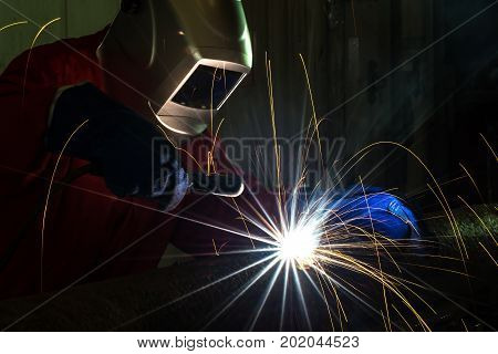 Worker at the factory welding Industrial Worker at the factory welding closeup