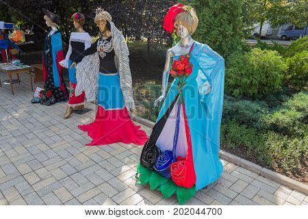 Donetsk Ukraine - August 27 2017: Samples of clothing models with national symbols in the center of the city during the celebration of the city's day