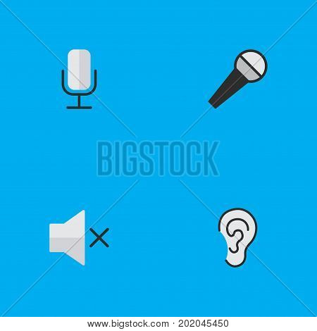 Elements Listen, Mike, Record And Other Synonyms Listen, Record And Mic.  Vector Illustration Set Of Simple Sound Icons.
