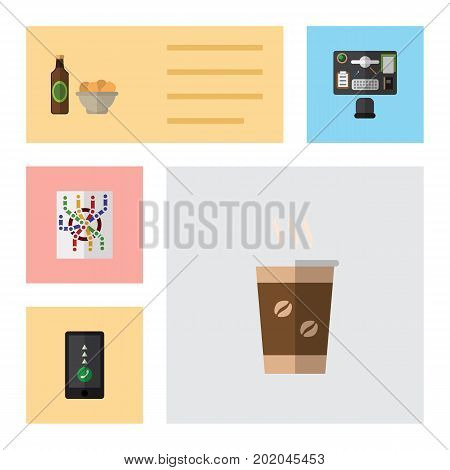 Flat Icon Life Set Of Router, Bureau, Cappuccino And Other Vector Objects