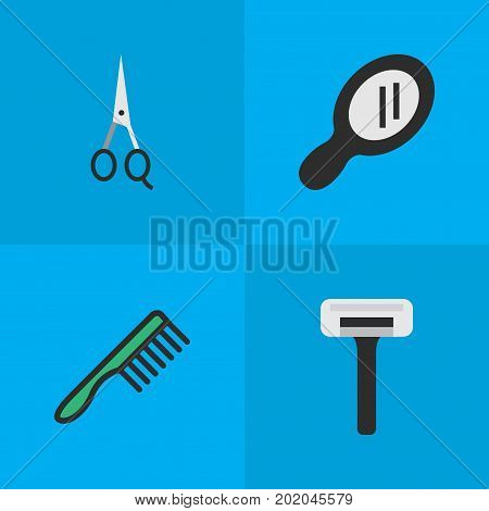 Elements Shaver, Glass, Hairbrush And Other Synonyms Comb, Tool And Speculum.  Vector Illustration Set Of Simple Barber Icons.