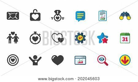 Love, valentine day icons. Target with heart, oath letter and locker symbols. Couple lovers, boyfriend signs. Calendar, Report and Download signs. Stars, Service and Search icons. Vector