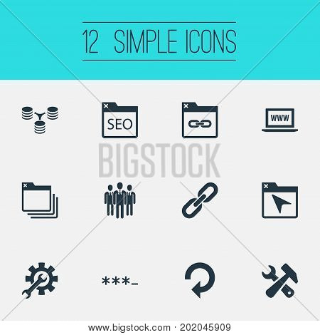 Elements Tools, Instrument, Refresh And Other Synonyms Staff, Optimization And Parole.  Vector Illustration Set Of Simple Search Icons.