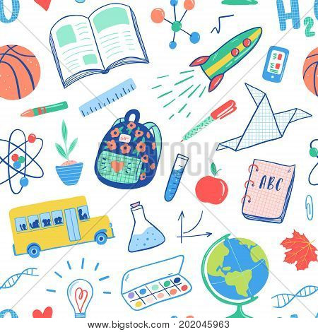 Back to school seamless pattern. Vector school bus rocket globe backpack ball book chemistry test tubes paint plant telephone. School doodles icons illustration.