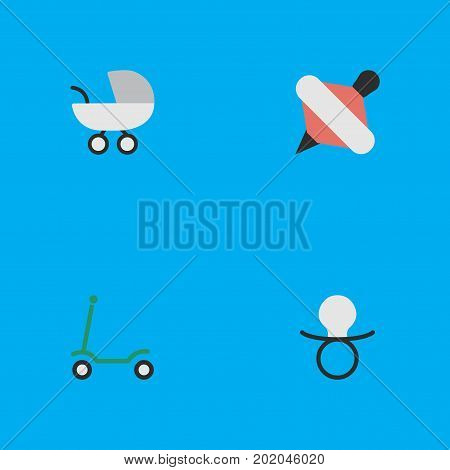 Elements Yule, Nipple, Stroller And Other Synonyms Baby, Carriage And Pacifier.  Vector Illustration Set Of Simple Child Icons.