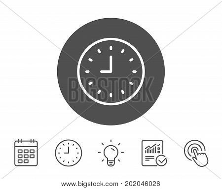 Clock line icon. Time sign. Office Watch or Timer symbol. Report, Clock and Calendar line signs. Light bulb and Click icons. Editable stroke. Vector