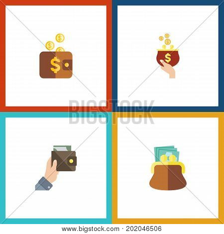 Flat Icon Billfold Set Of Pouch, Currency, Purse And Other Vector Objects
