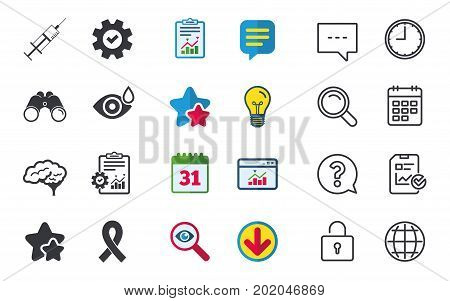Medicine icons. Syringe, eye with drop, brain and ribbon signs. Breast cancer awareness symbol. Human smart mind. Chat, Report and Calendar signs. Stars, Statistics and Download icons. Vector