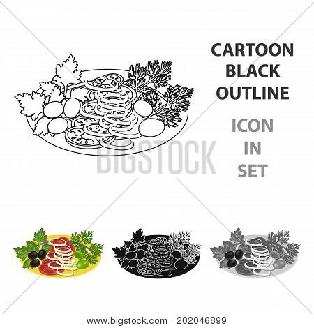 Vegetable salad. Food and cooking single icon in cartoon style vector symbol stock illustration .