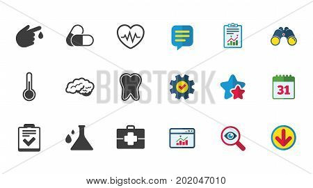 Medicine, healthcare and diagnosis icons. Tooth, pills and doctor case signs. Neurology, blood test symbols. Calendar, Report and Download signs. Stars, Service and Search icons. Vector