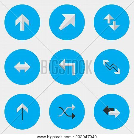 Elements Chaotically, Up, Orientation And Other Synonyms Direction, Boom And Internet.  Vector Illustration Set Of Simple Pointer Icons.