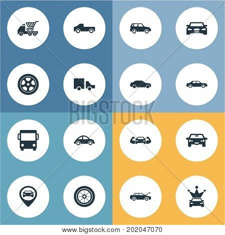 Elements Traffic, Auto, Location And Other Synonyms Energy, Corona And Drive.  Vector Illustration Set Of Simple Auto Icons.