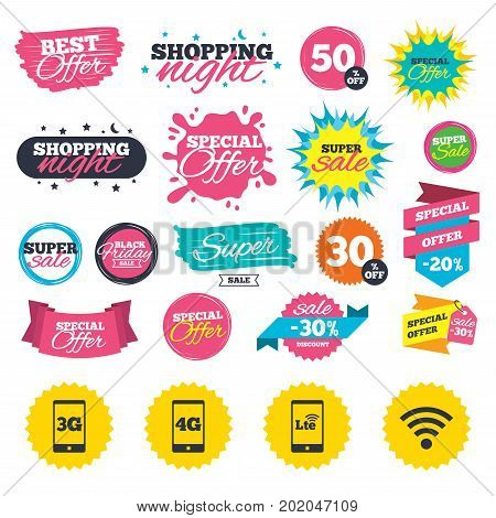 Sale shopping banners. Mobile telecommunications icons. 3G, 4G and LTE technology symbols. Wi-fi Wireless and Long-Term evolution signs. Web badges, splash and stickers. Best offer. Vector