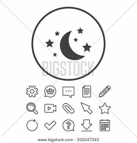 Moon and stars icon. Sleep dreams symbol. Night or bed time sign. Document, Chat and Paper clip line signs. Question, Pencil and Calendar line icons. Star, Download and Shopping cart. Vector