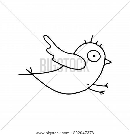 Linear cartoon hand drawn bird symbol. Cute vector black and white bird symbol. Isolated monochrome doodle bird symbol on white background.