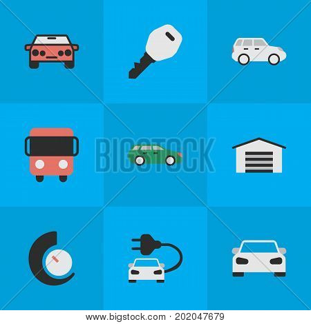 Elements Open, Sport, Autobus And Other Synonyms Bus, Speedometer And Counter.  Vector Illustration Set Of Simple Shipping Icons.