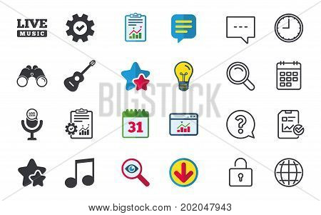 Musical elements icons. Microphone and Live music symbols. Music note and acoustic guitar signs. Chat, Report and Calendar signs. Stars, Statistics and Download icons. Question, Clock and Globe