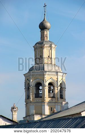 Bell tower of Spaso-Prilutsky Monastery in the Vologda city, Russia.