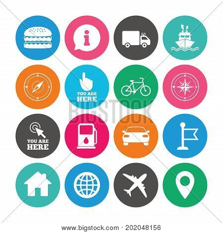 Set of Navigation and Gps icons. Windrose, Compass and Burger signs. Bicycle, Ship and Car symbols. Location pointer and flag. Colored circle buttons with flat signs. Vector