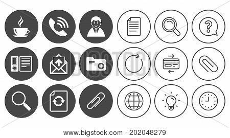 Office, documents and business icons. Coffee, phone call and businessman signs. Safety pin, magnifier and mail symbols. Document, Globe and Clock line signs. Lamp, Magnifier and Paper clip icons