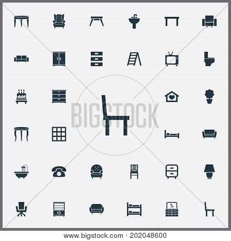 Elements Plant, Cupboard, Bunk Bed And Other Synonyms Bookcase, Dial And Television.  Vector Illustration Set Of Simple Furniture Icons.