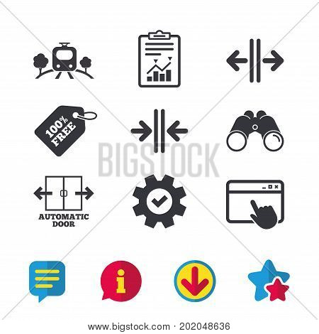 Train railway icon. Overground transport. Automatic door symbol. Way out arrow sign. Browser window, Report and Service signs. Binoculars, Information and Download icons. Stars and Chat. Vector