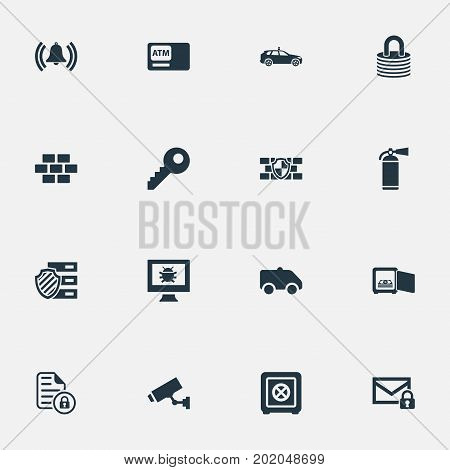 Elements Extinguisher, Camion, Cop Automobile And Other Synonyms Wall, Protected And Locked.  Vector Illustration Set Of Simple Safety Icons.
