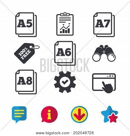 Paper size standard icons. Document symbols. A5, A6, A7 and A8 page signs. Browser window, Report and Service signs. Binoculars, Information and Download icons. Stars and Chat. Vector