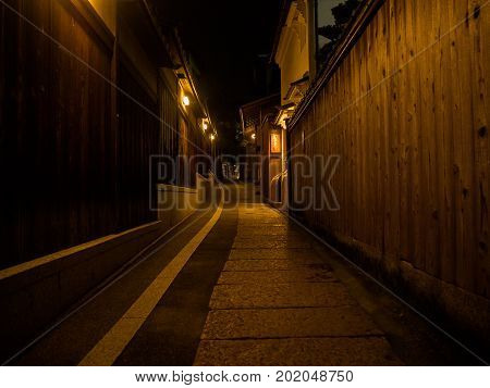 HAKONE, JAPAN - JULY 02, 2017: Stoned path at night located in hanami in Kyoto, Japan.