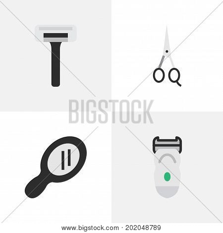 Elements Scissors, Glass, Electronic And Other Synonyms Shaver, Scissors And Machine.  Vector Illustration Set Of Simple Barber Icons.