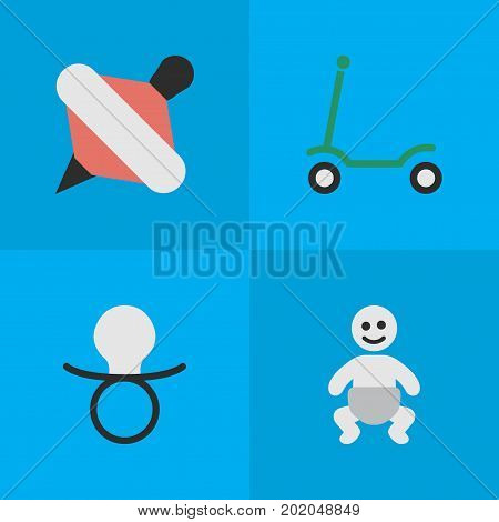 Elements Kick, Yule, Nipple And Other Synonyms Nipple, Children And Scooter.  Vector Illustration Set Of Simple Infant Icons.