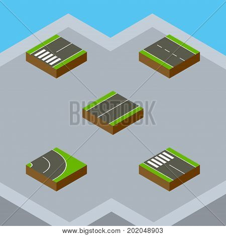 Isometric Road Set Of Single-Lane, Asphalt, Plane And Other Vector Objects