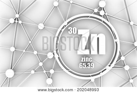 Zinc chemical element. Sign with atomic number and atomic weight. Chemical element of periodic table. Molecule And Communication Background. Connected lines with dots. 3D rendering.