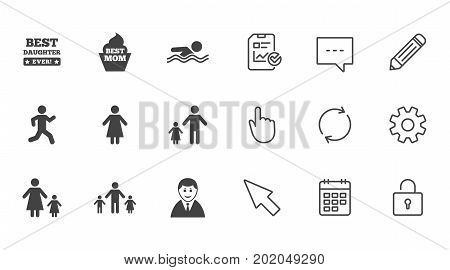 People, family icons. Swimming pool, person signs. Best mom, father and mother symbols. Chat, Report and Calendar line signs. Service, Pencil and Locker icons. Click, Rotation and Cursor. Vector