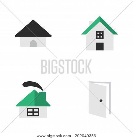 Elements Entry, Dwelling, Base And Other Synonyms Door, Open And Home.  Vector Illustration Set Of Simple Estate Icons.
