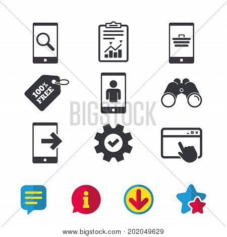 Phone icons. Smartphone video call sign. Search, online shopping symbols. Outcoming call. Browser window, Report and Service signs. Binoculars, Information and Download icons. Stars and Chat. Vector