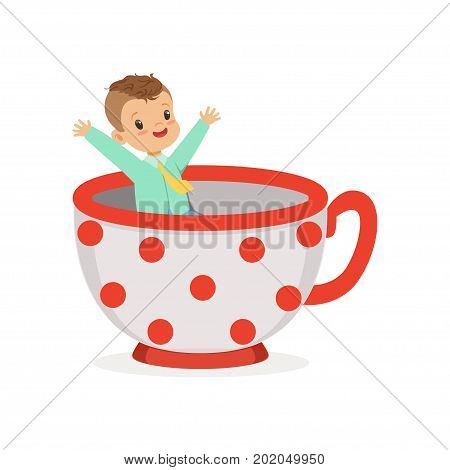 Cute little boy sitting in a cup, kid have a fun in amusement park cartoon vector Illustration on a white background