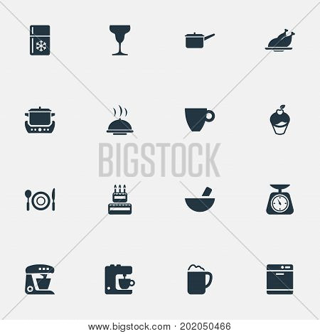 Elements Kitchen Tool, Casserole, Blender And Other Synonyms Stew-Pot, Cake And Celebrating.  Vector Illustration Set Of Simple Cuisine Icons.