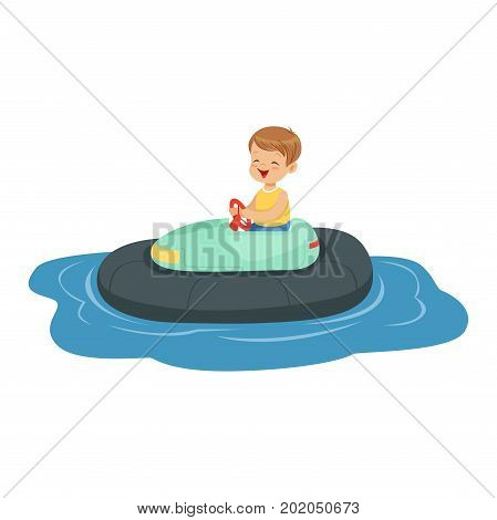 Cute little boy riding boat, kid have a fun in amusement park cartoon vector Illustration on a white background