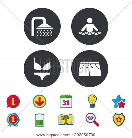 Swimming pool icons. Shower water drops and swimwear symbols. Human stands in sea waves sign. Trunks and women underwear. Calendar, Information and Download signs. Stars, Award and Book icons. Vector