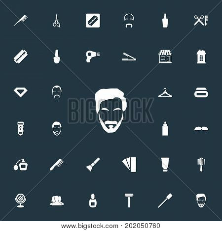 Elements Supermarket, Cutting Machine, Straight Razor And Other Synonyms Hipster, Palette And Bottle.  Vector Illustration Set Of Simple Barber Icons.