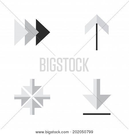 Elements Onward, Loading, Up And Other Synonyms Arrow, Up And Forward.  Vector Illustration Set Of Simple Pointer Icons.