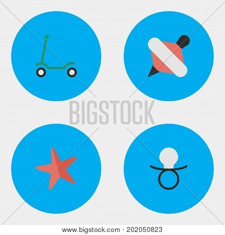 Elements Yule, Toy, Nipple And Other Synonyms Starfish, Toy And Nipple.  Vector Illustration Set Of Simple Baby Icons.