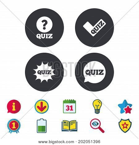 Quiz icons. Speech bubble with check mark symbol. Explosion boom sign. Calendar, Information and Download signs. Stars, Award and Book icons. Light bulb, Shield and Search. Vector