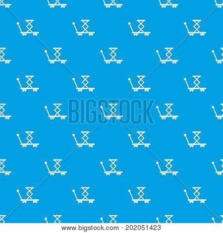 Truck with lifting spring pattern repeat seamless in blue color for any design. Vector geometric illustration